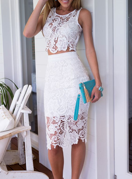 sexy lace two piece dress with a midi skirt