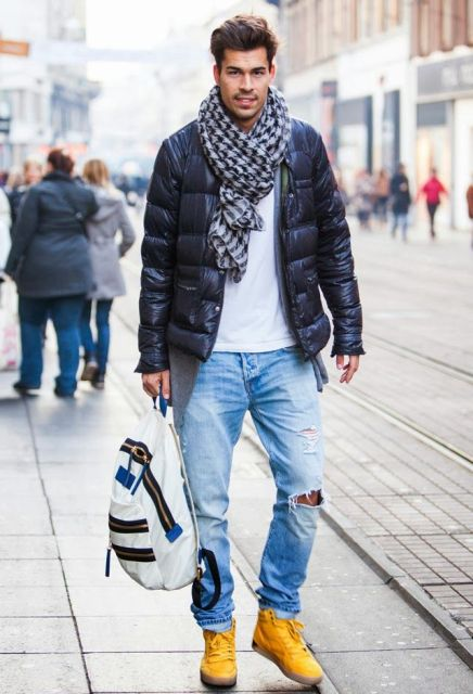With printed scarf, white shirt, distressed jeans and yellow boots