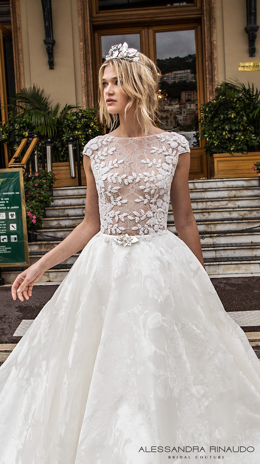 alessandra rinaudo 2017 bridal cap sleeves bateau neckline floral heavily embellished bodice romantic princess a line wedding dress with pockets lace back royal long train (brigitta) zv