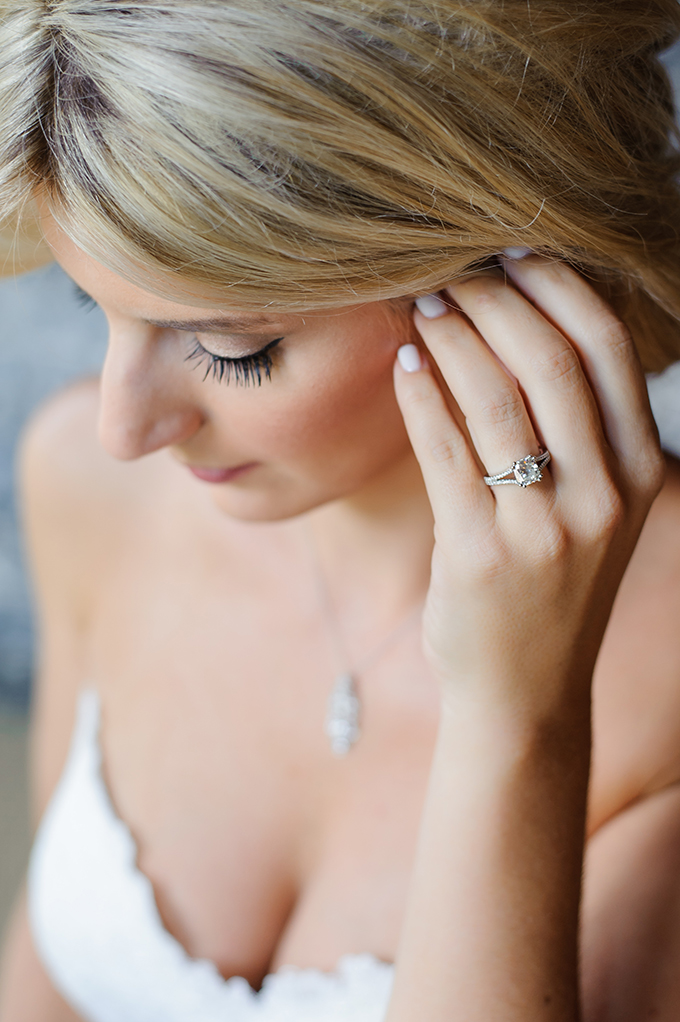 The engagement and wedding bands were made by the mother of the bride as she