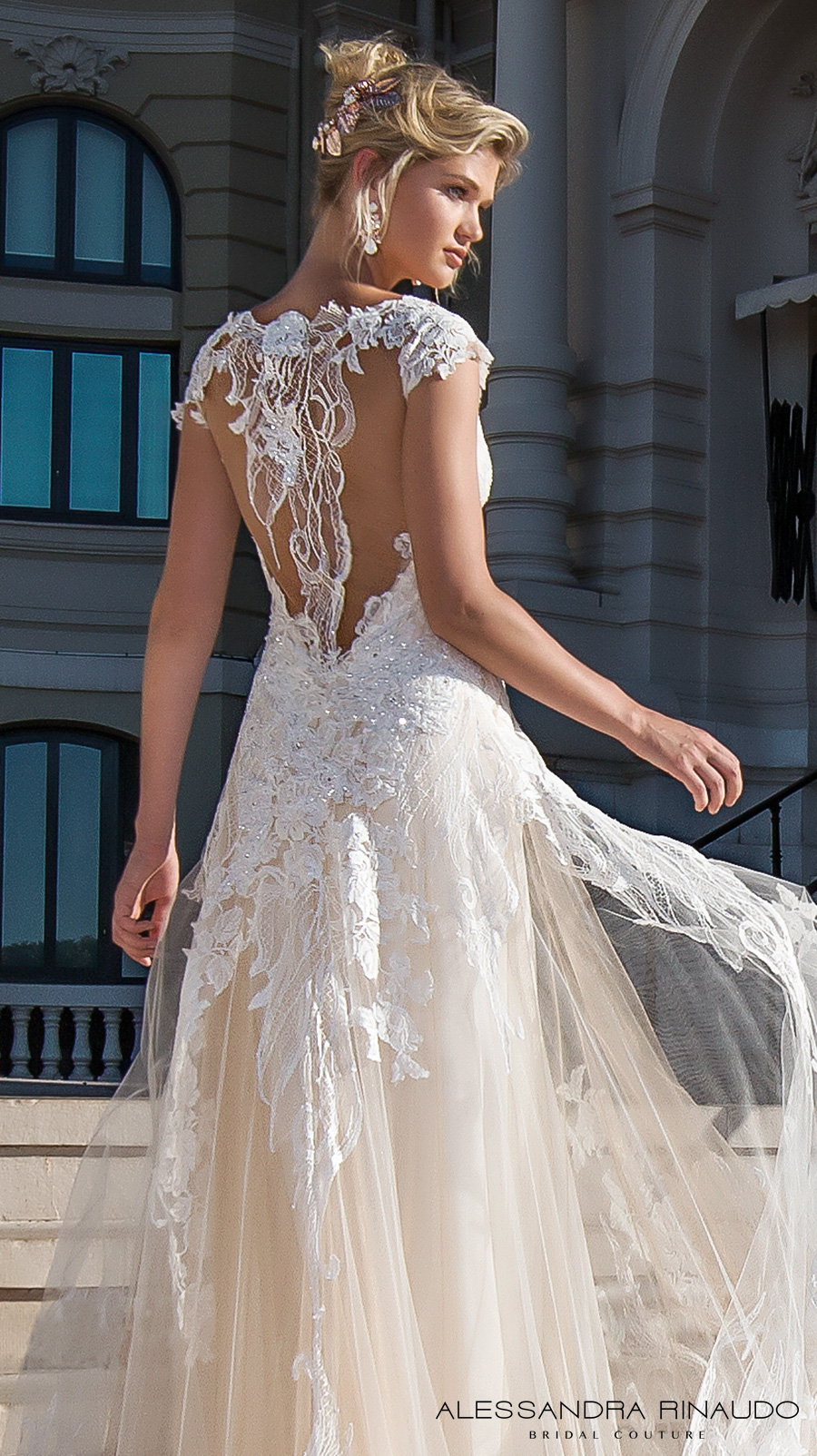 alessandra rinaudo 2017 bridal cap sleeves scoop neckline heavily embellished bodice ivory color romantic princess a line wedding dress razor back chapel train (bea) zv