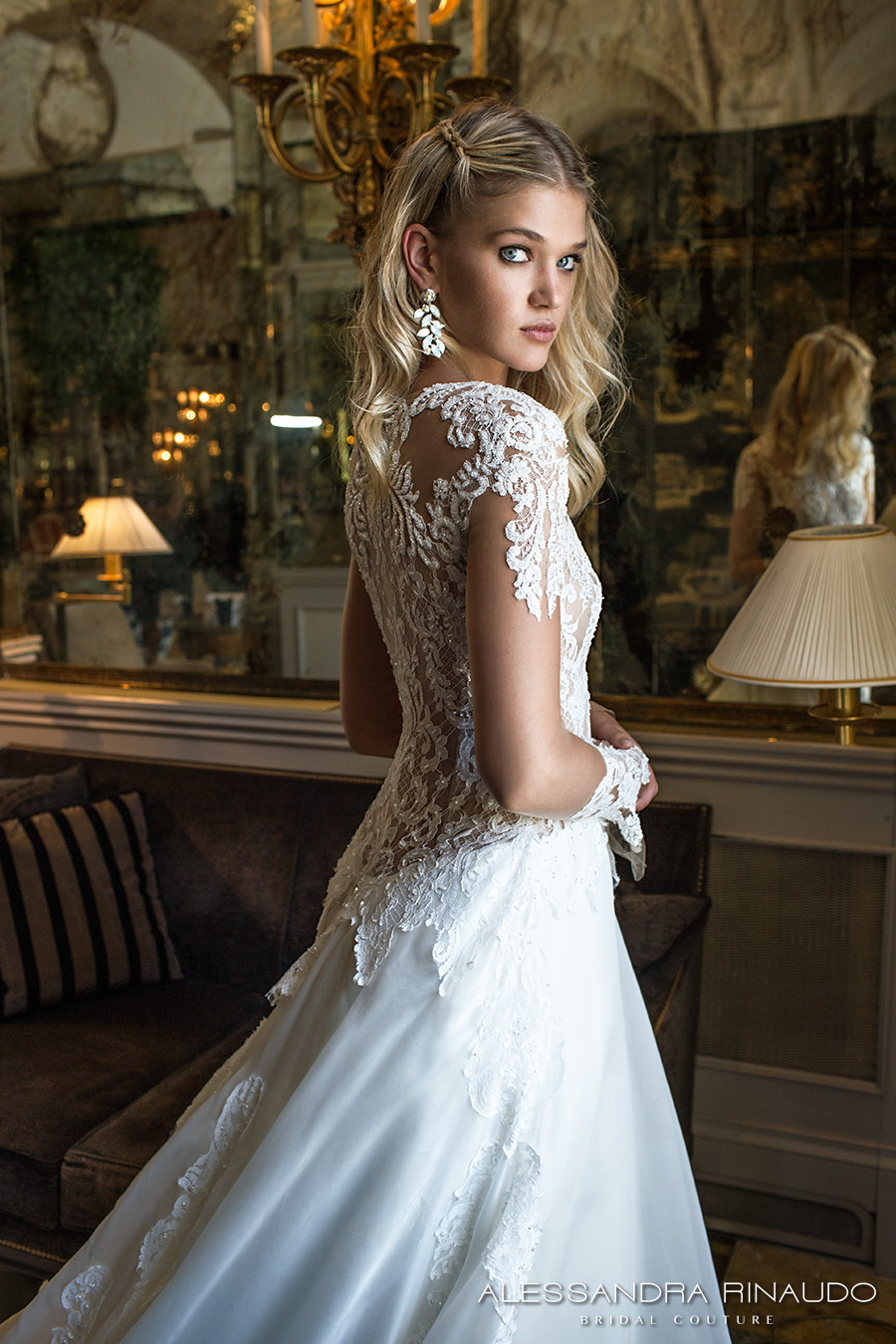alessandra rinaudo 2017 bridal long sleeves round neck lace heavily embellished bodice drop waist elegant a line wedding dress lace back long train (brunilde) zbv