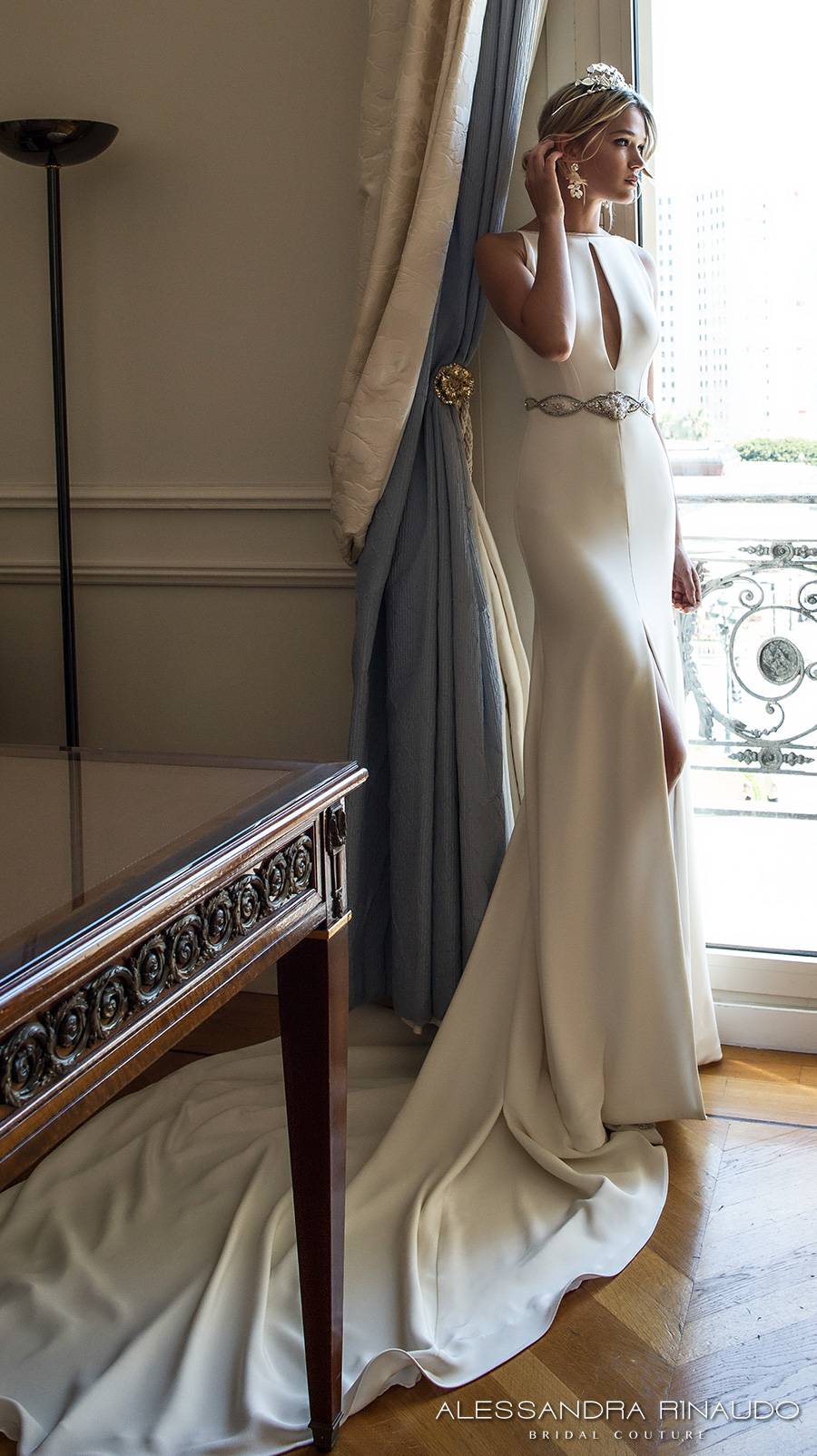 alessandra rinaudo 2017 bridal sleeveless boat neckline keyhole bodice clean simple elegant sheath wedding dress middle slit skirt low v back chapel train (bernadette) sdv mv