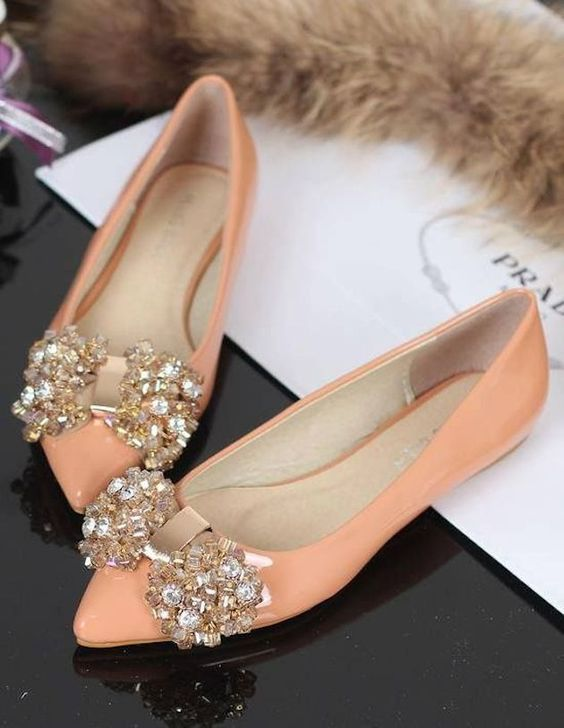 bejeweled peach flats look glam and romantic