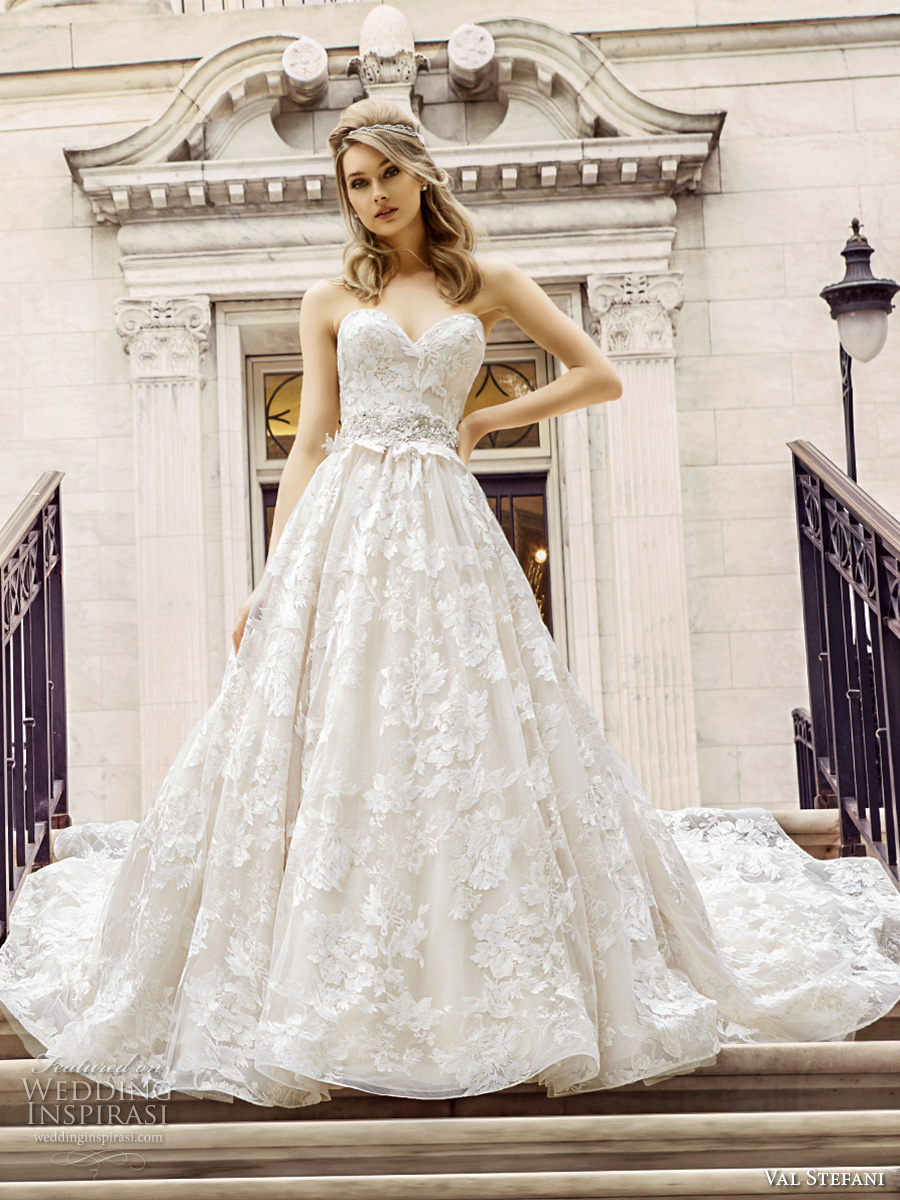 val stefani spring 2017 bridal strapless sweetheart neckline full embellishment beautiful romantic princess a line wedding dress royal train (d8125) mv