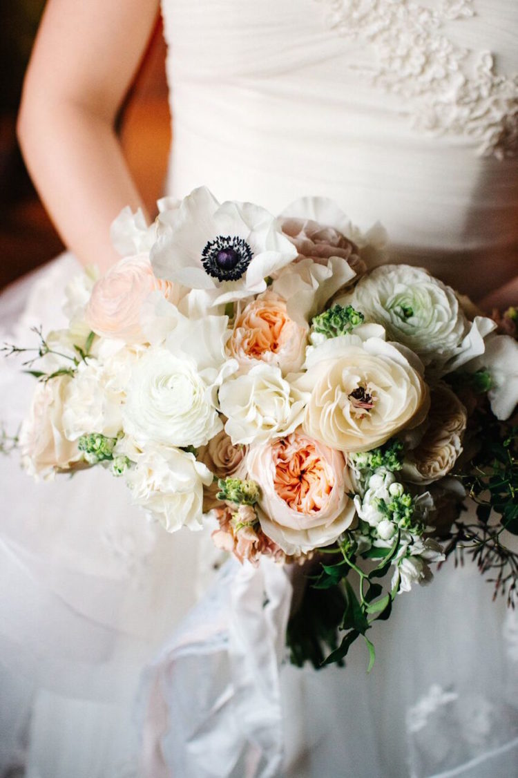The bridal bouquet was delicate and sweet, with blush peonies and ivory flowers