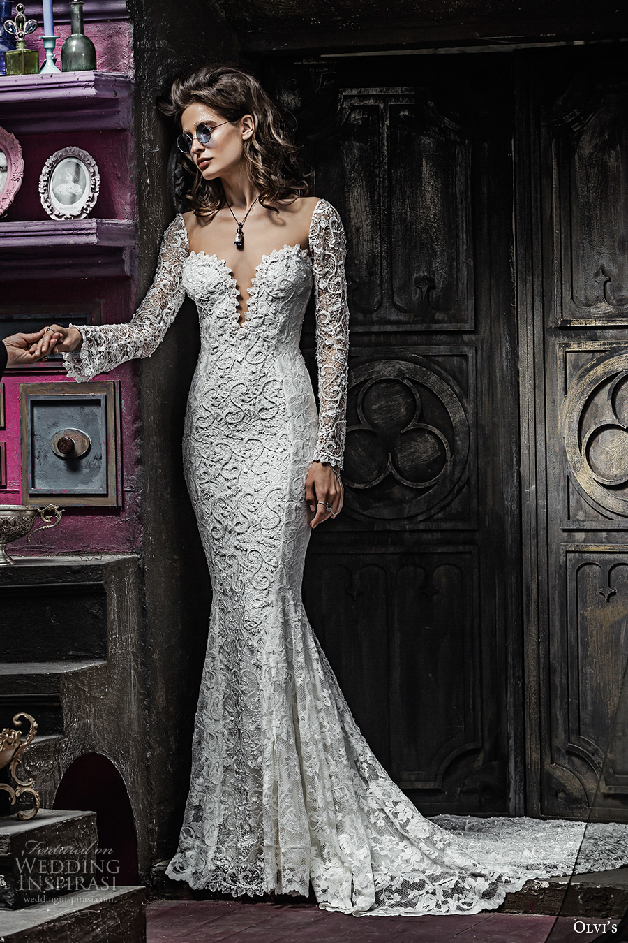 olvis 2017 couture bridal long sleeves deep plunging sweetheart neckline full embellishment elegant sexy lace mermaid wedding dress low back chapel train (2318) mv