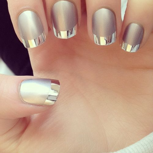 matte silver with mirror tips nails