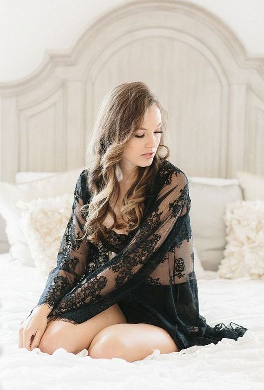 black lace robe and lingerie is always sexy