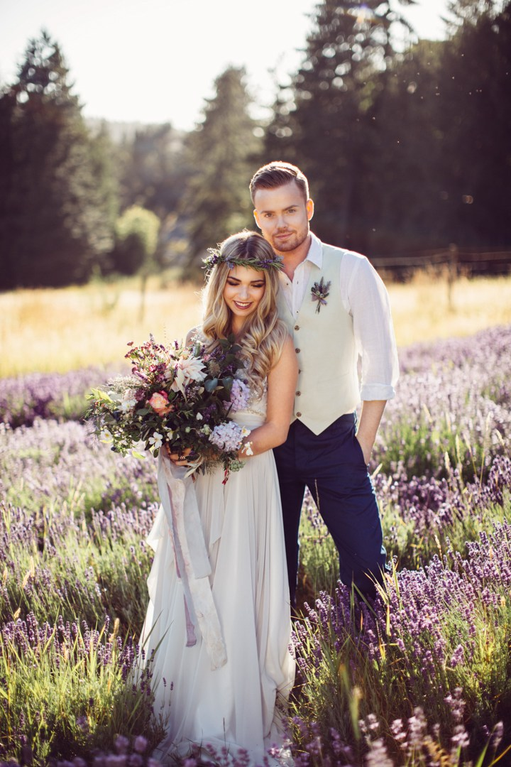 This whimsical wedding shoot was done in lavender fields, and it's a great source of inspiration for spring and summer weddings