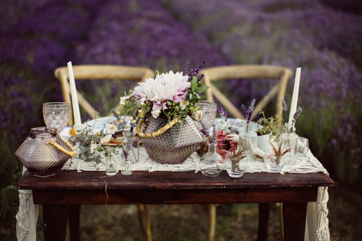 The table was decorated with succulents and wildflowers to create a balance with lush lavender fields