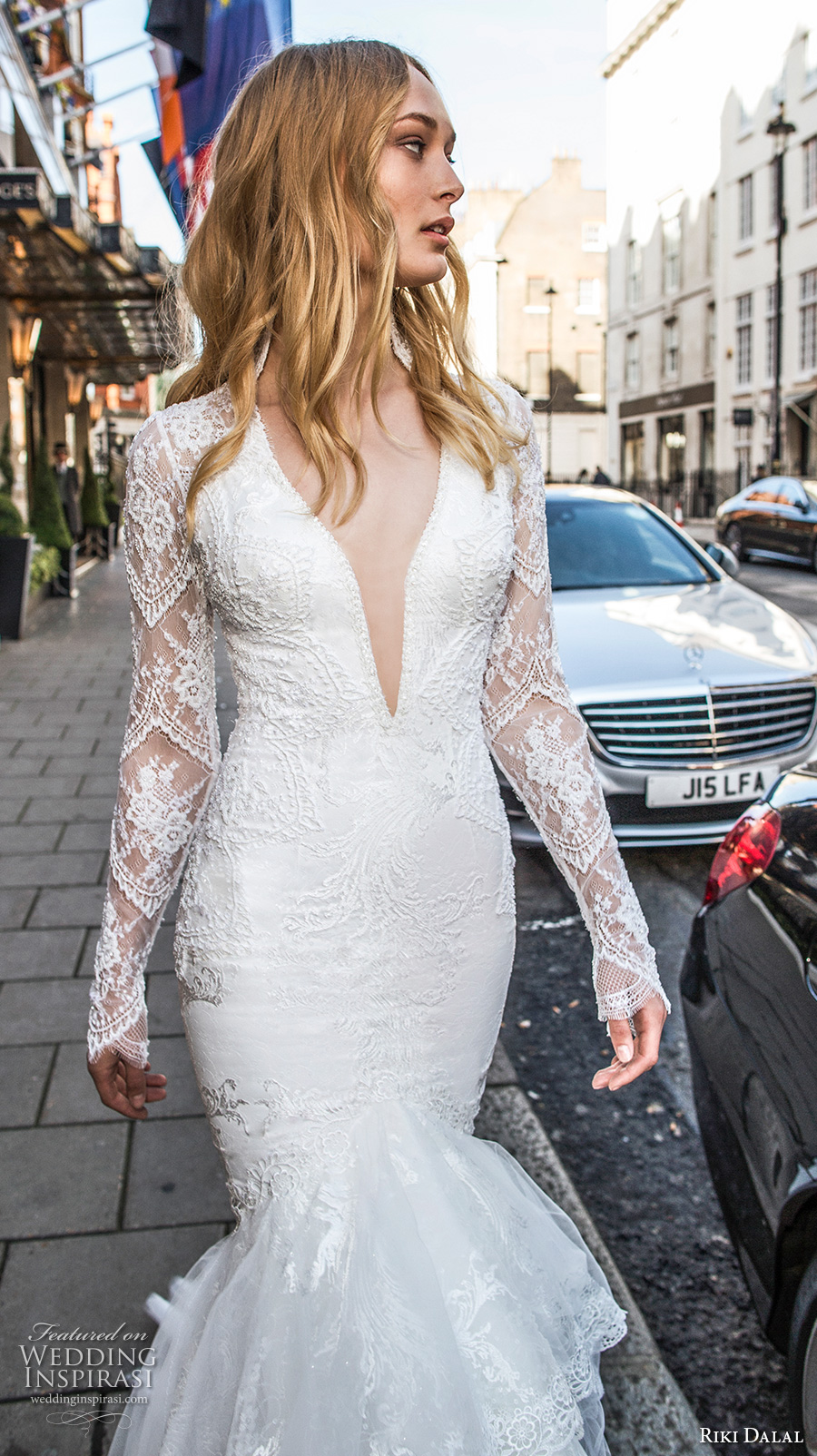 riki dalal fall 2017 bridal long sleeves deep v neckline heavily embellished bodice elegant sexy mermaid wedding dress lace back long train (1915) zv