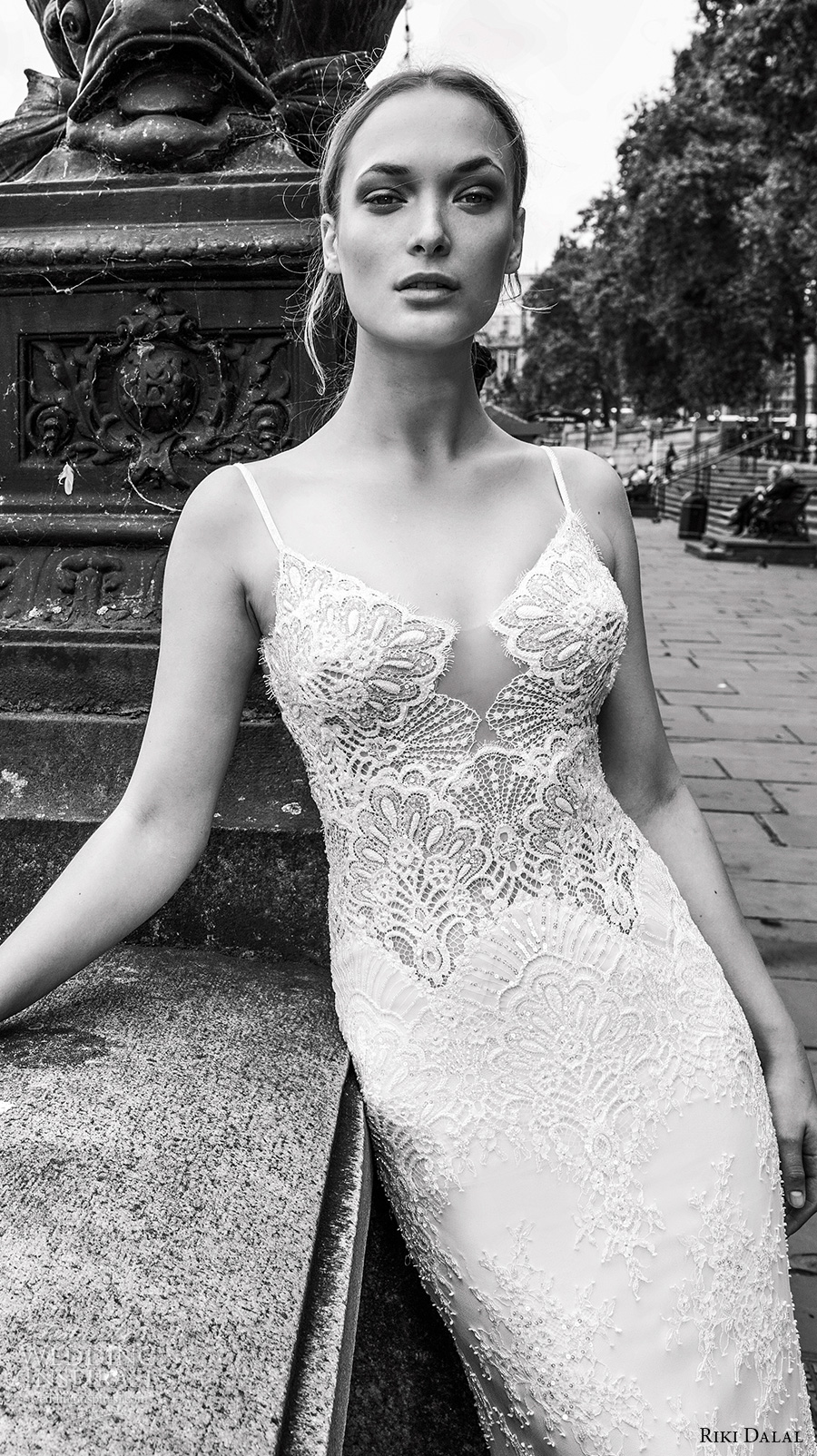 riki dalal fall 2017 bridal spagetti strap scoop neckline heavily embellished bodice elegant sexy sheath wedding dress low back sweep train (1916) zv