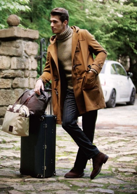 With sweater, printed trousers and suede boots