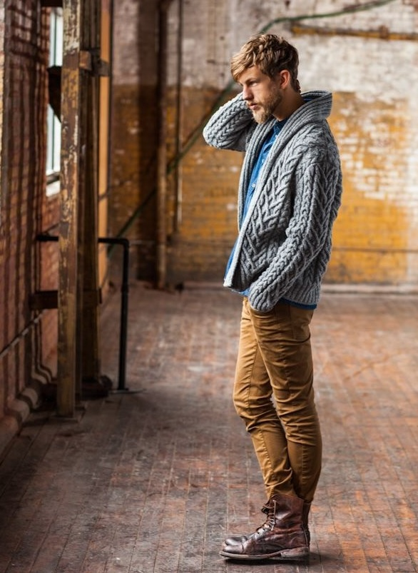 ocher pants, a cable knit cardigan and brown boots
