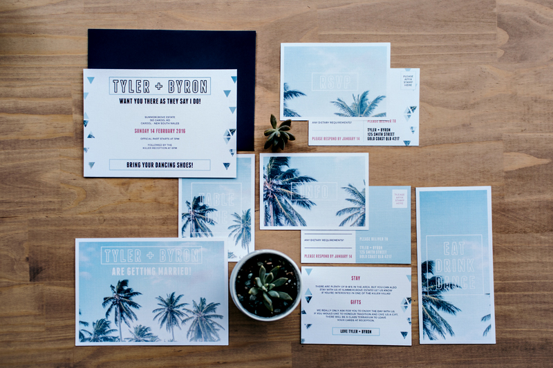 blue tropical wedding invitations - photo by Ivy Road Photography http://ruffledblog.com/palm-springs-inspired-wedding-editorial-from-australia
