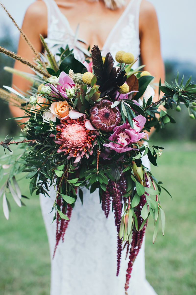tropical inspired bouquet - photo by Ivy Road Photography http://ruffledblog.com/palm-springs-inspired-wedding-editorial-from-australia