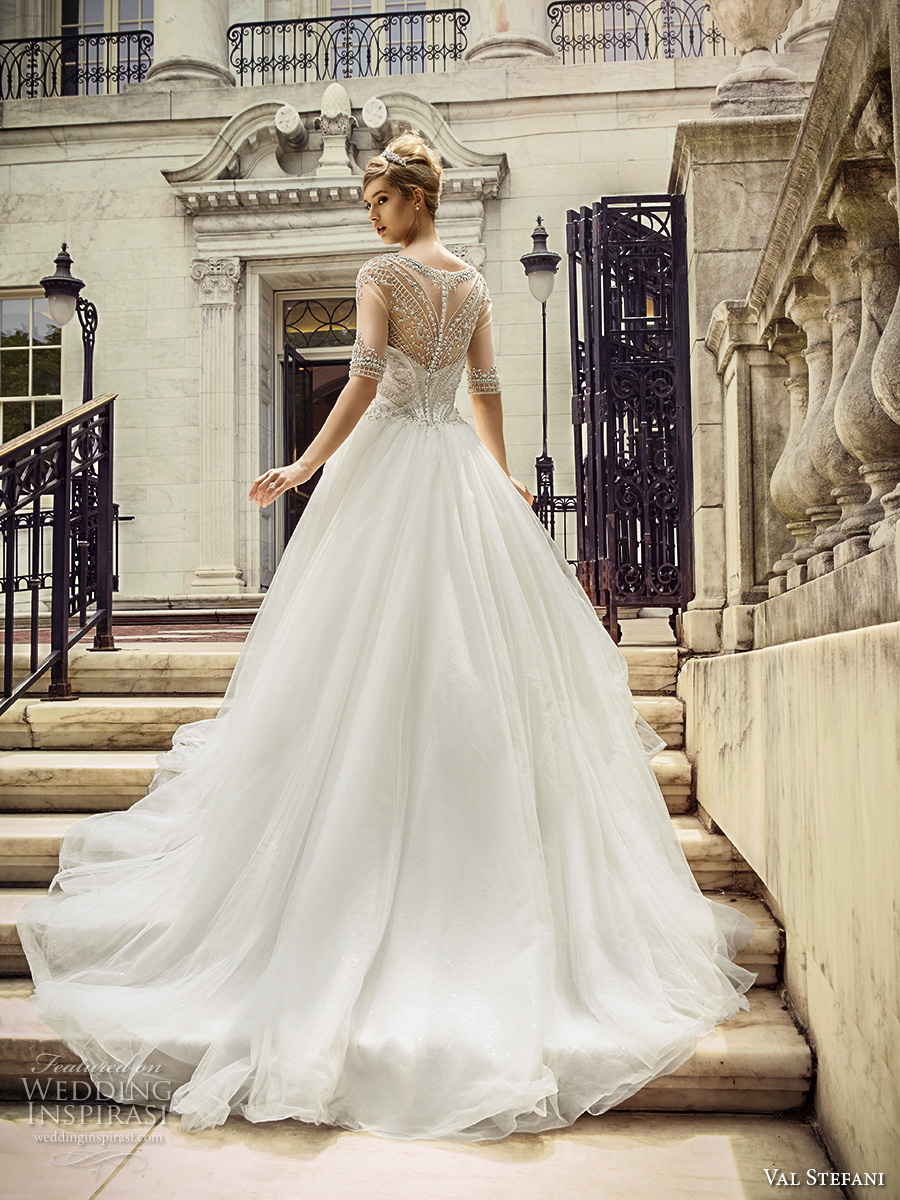 val stefani spring 2017 bridal half sleeves illusion bateau sweetheart neckline heavily embellished bodice romantic princess ball gown a line wedding dress illusion back chapel train (d8128) bv