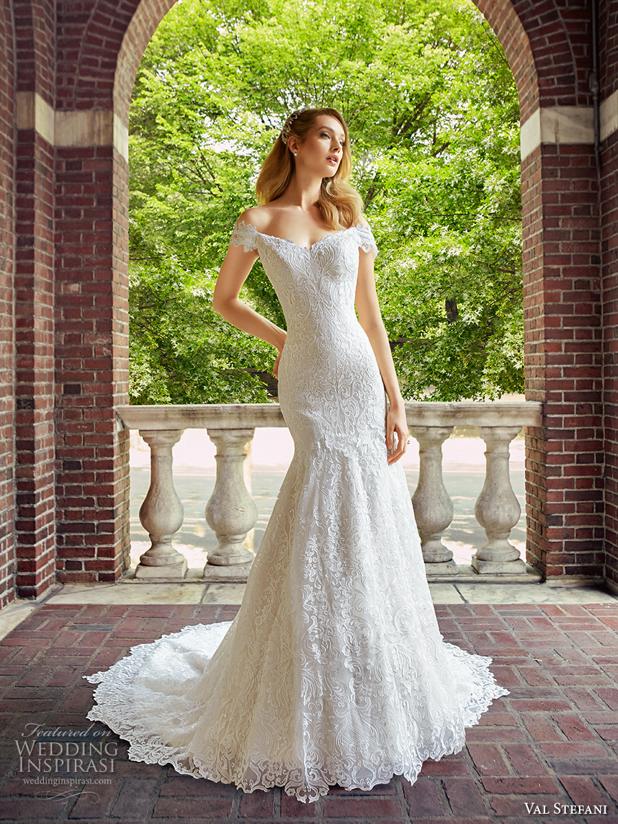 val stefani spring 2017 bridal off the shoulder sweetheart neckline full embellishment elegant trumpet wedding dress chapel train (d8121) zv