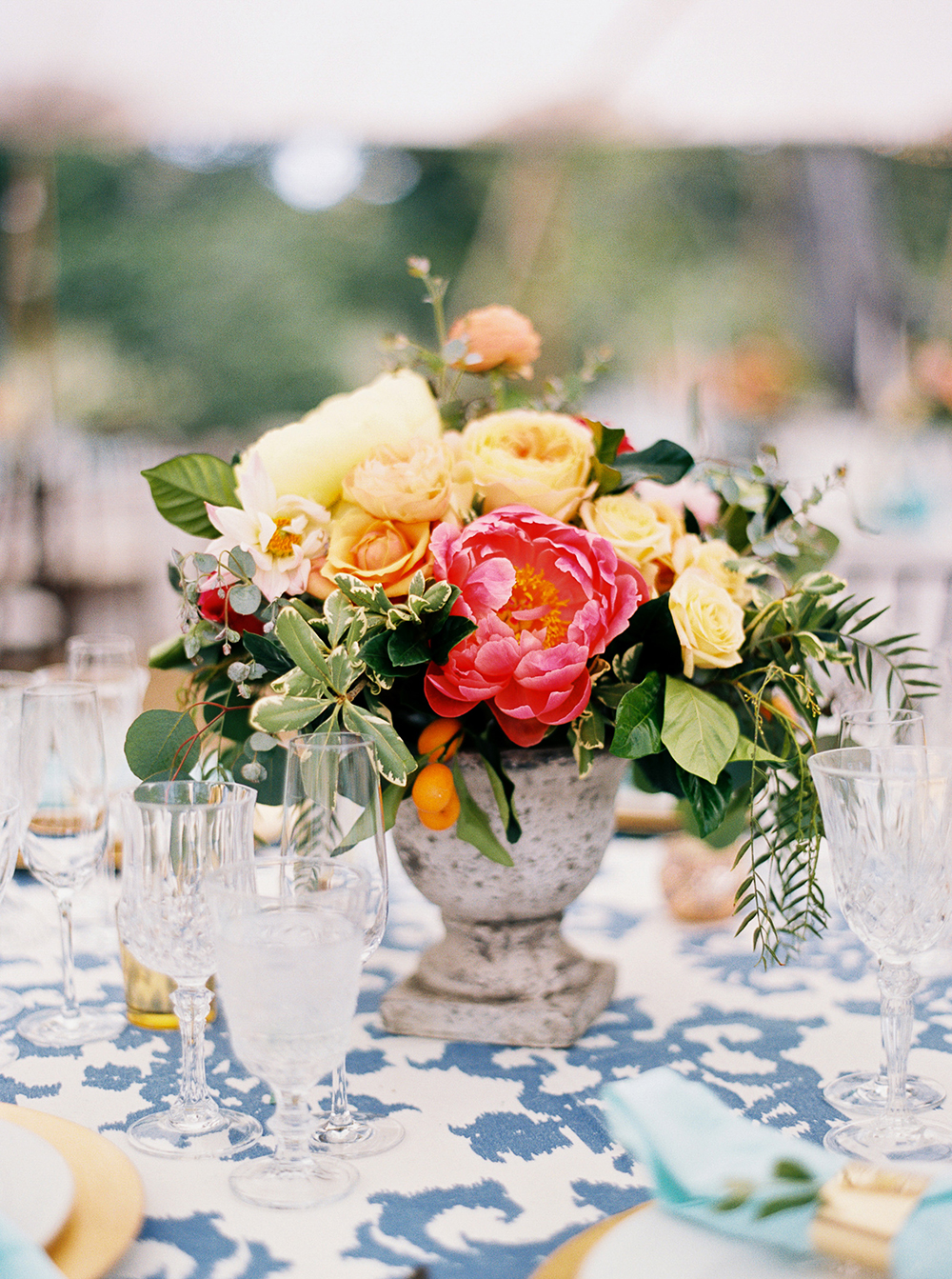 potted centerpiece - photo by Jen Rodriguez http://ruffledblog.com/cheerful-san-luis-obispo-wedding