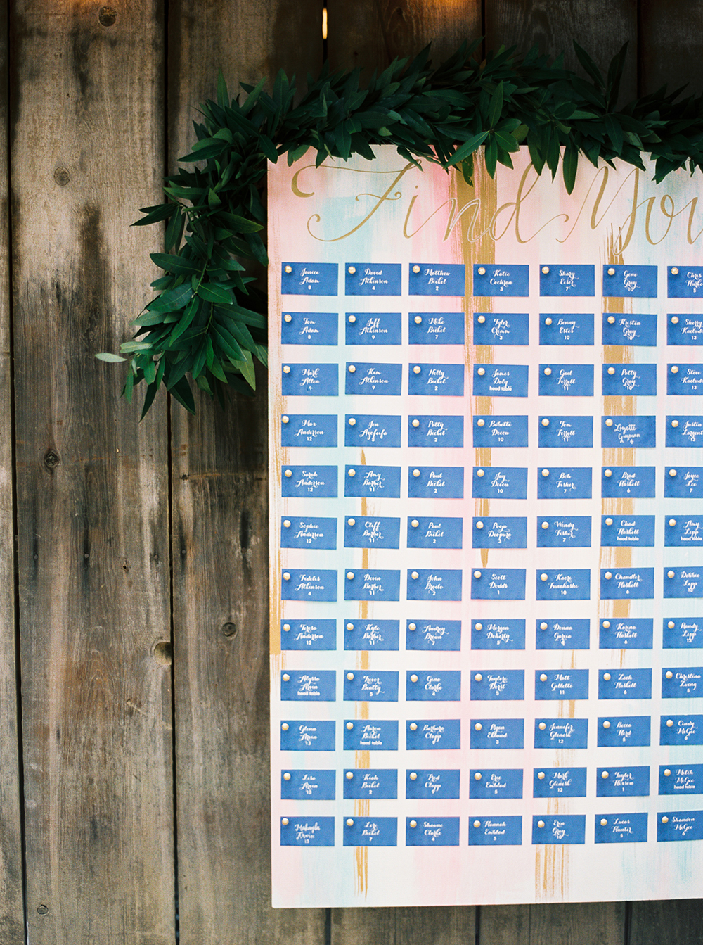 painted seating chart - photo by Jen Rodriguez http://ruffledblog.com/cheerful-san-luis-obispo-wedding