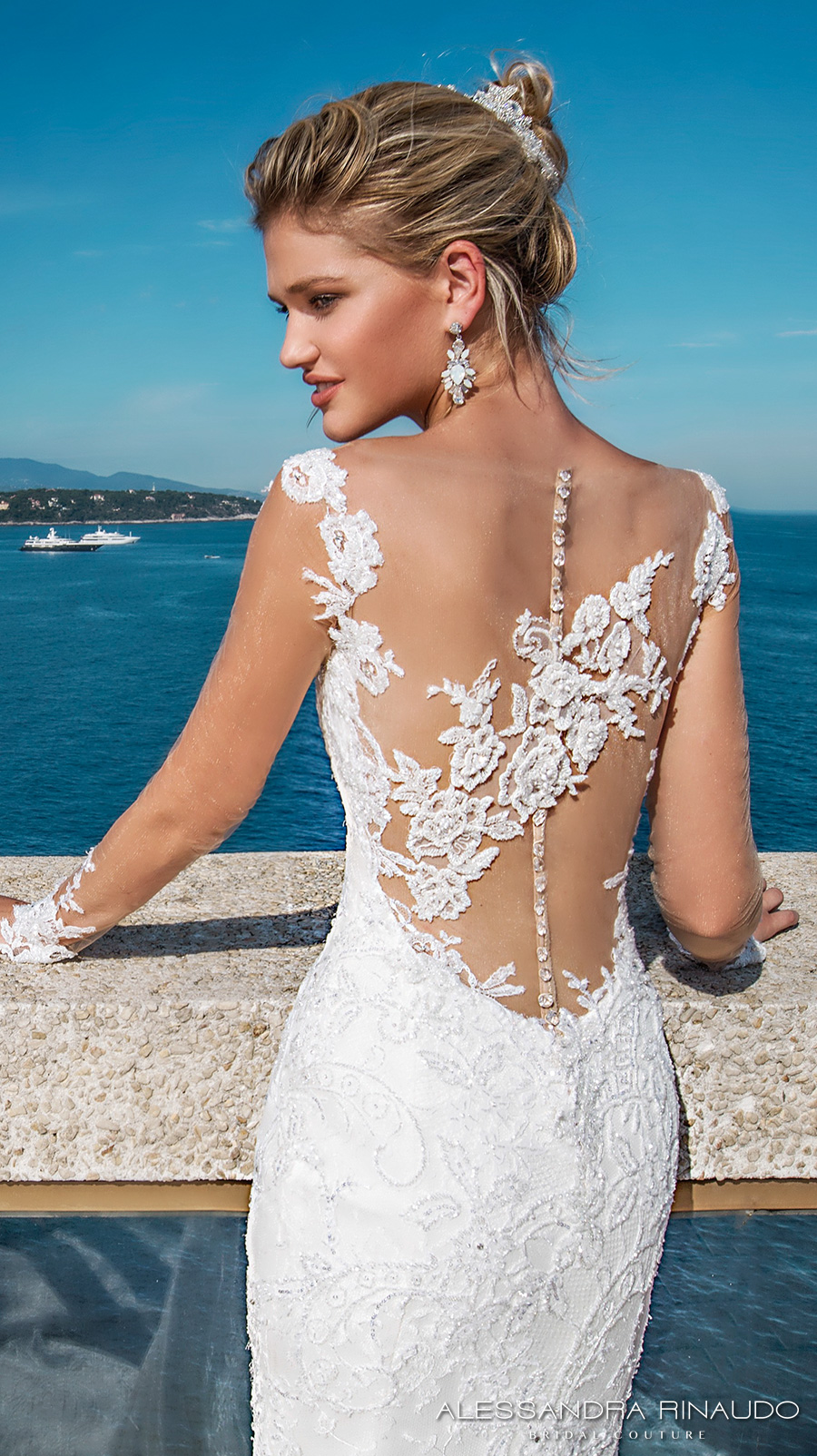 alessandra rinaudo 2017 bridal cap sleeves sweetheart neckline full embellishment elegant mermaid wedding dress illusion low back long train (berenice) zbv
