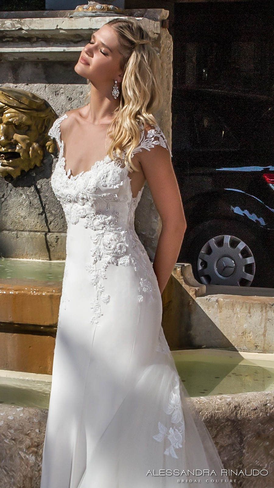 alessandra rinaudo 2017 bridal cap sleeves sweetheart neckline heavily embellished bodice elegant a line wedding dress illusion back long train (bellagio) zv