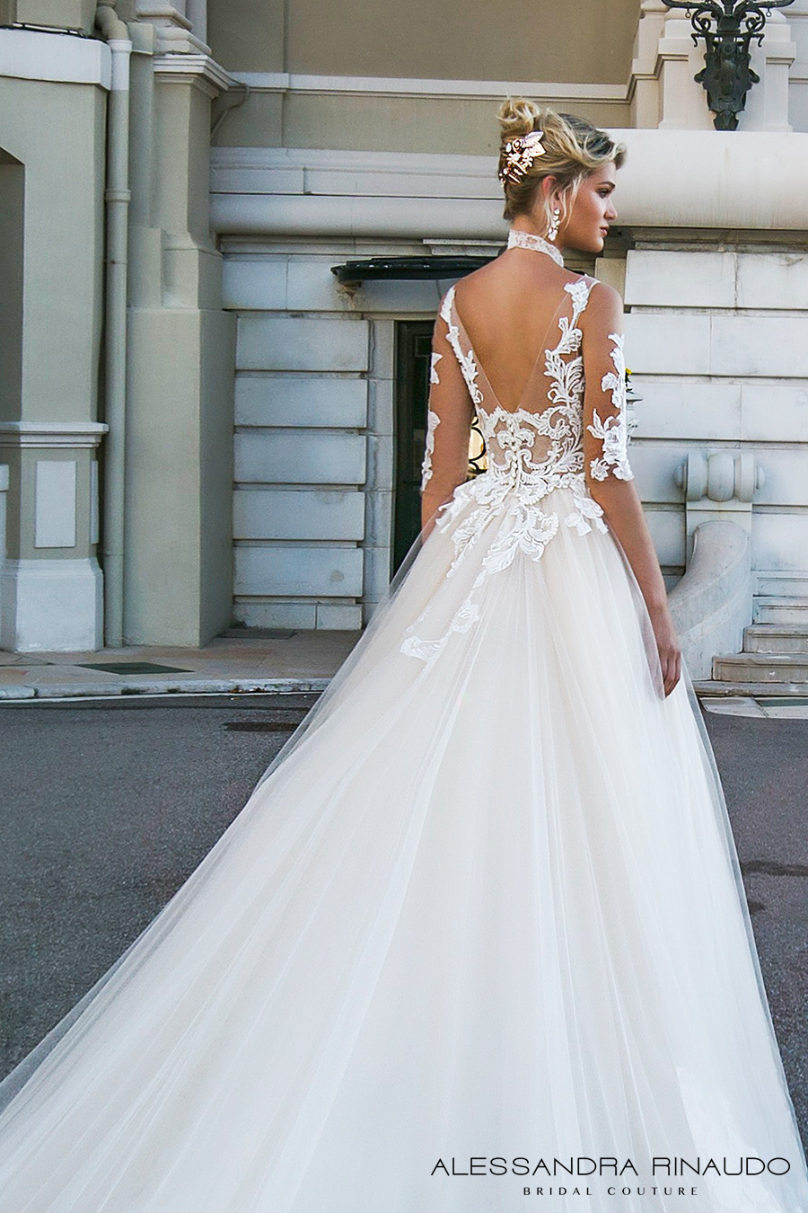 alessandra rinaudo 2017 bridal half sleeves scoop neckline heavily embellished bodice princess romantic a line wedding dress v back long royal train (benedetta) zbv