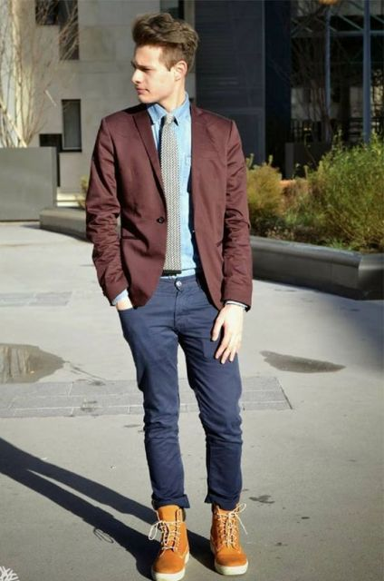 With marsala jacket, blue shirt, printed tie and navy blue pants