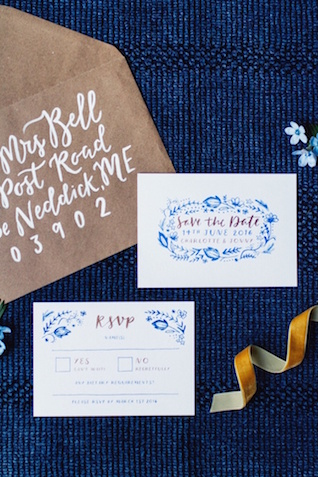 Blue embroidered style wedding invitation suite | Justina Bilodeau
