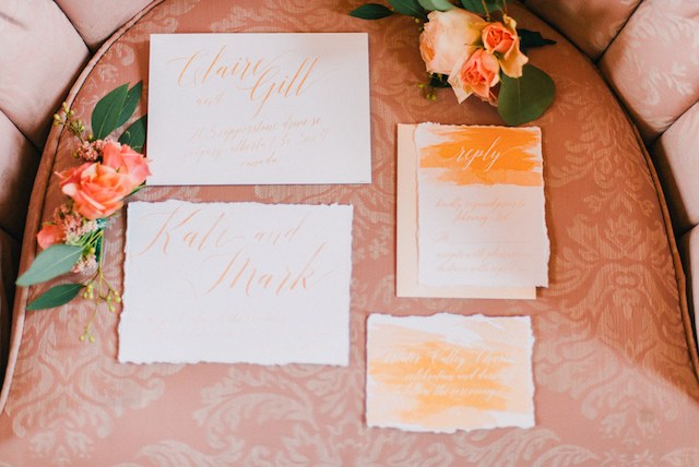 Watercolor wedding invitation suite | GingerSnap Photography