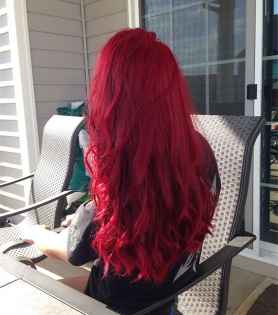 bright red long wavy hairstyle