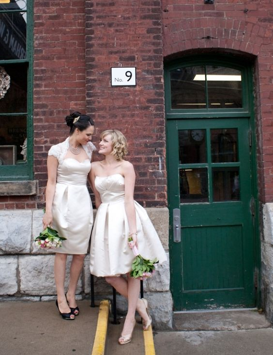 knee-length strapless ivory dresses in the same style look cool