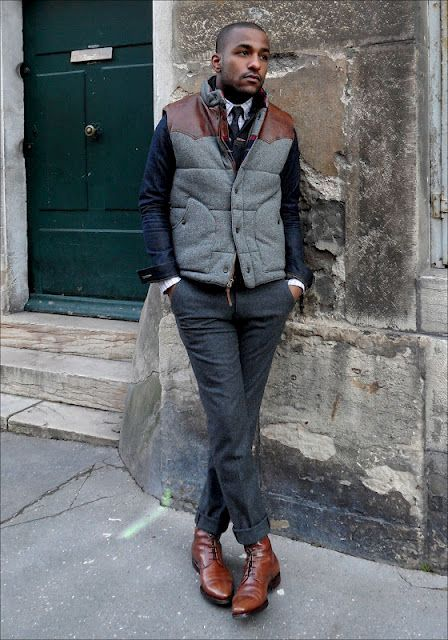 With printed shirt, tie, jacket and tweed trousers
