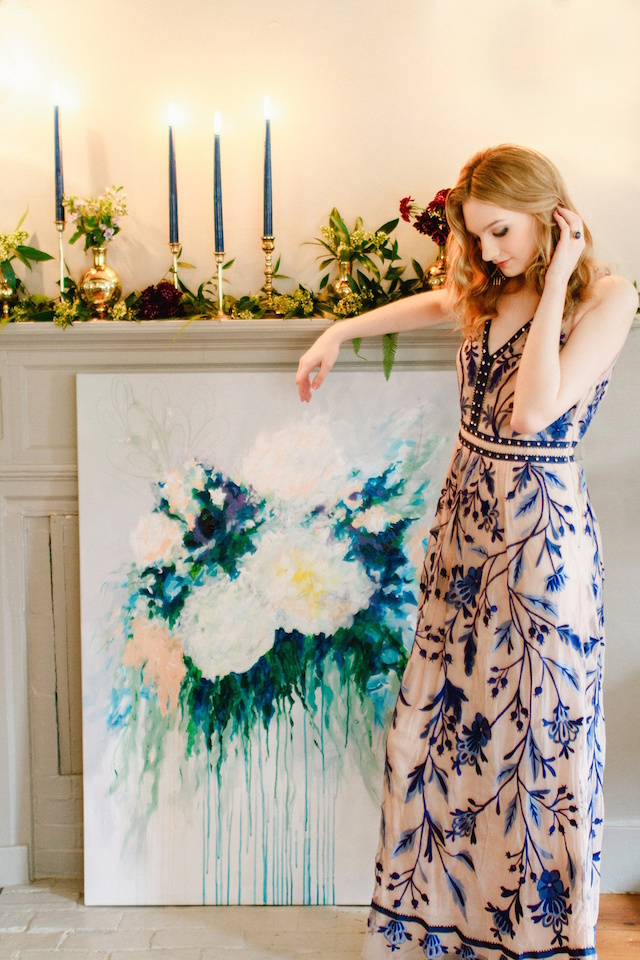 Hand painted wedding ceremony backdrop | Justina Bilodeau
