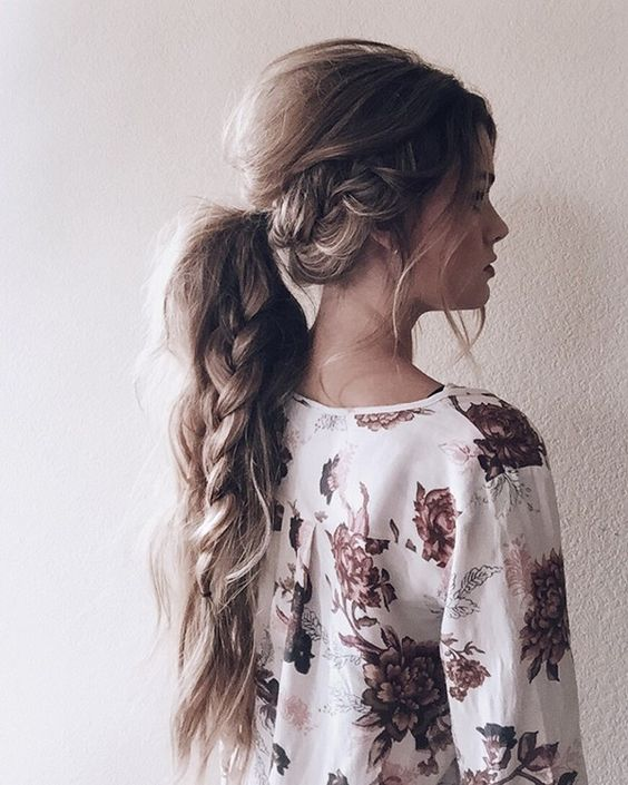 messy ponytail with a braid inside for long hair