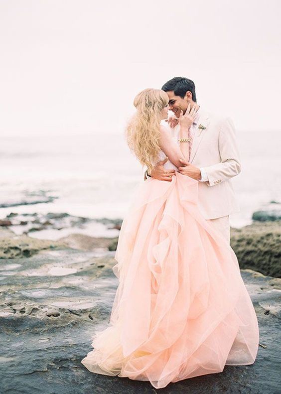 chic peach-colored wedding gown