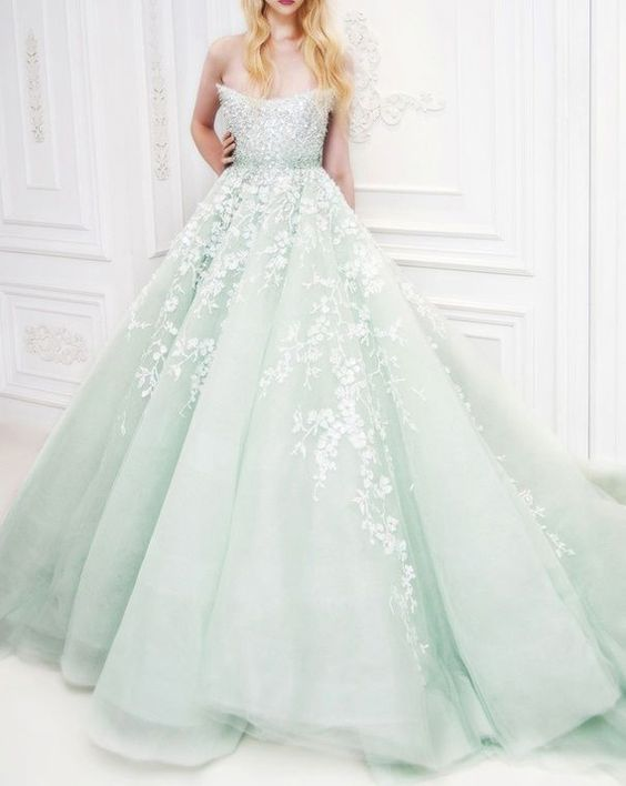 mint and white lace strapless ball gown