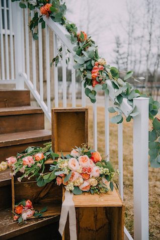 Church stairs with flowers | GingerSnap Photography