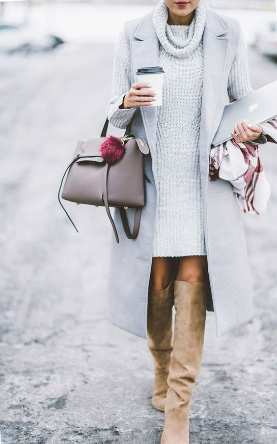 nude boots, a grey sweater dress and a long no-sleeve coat