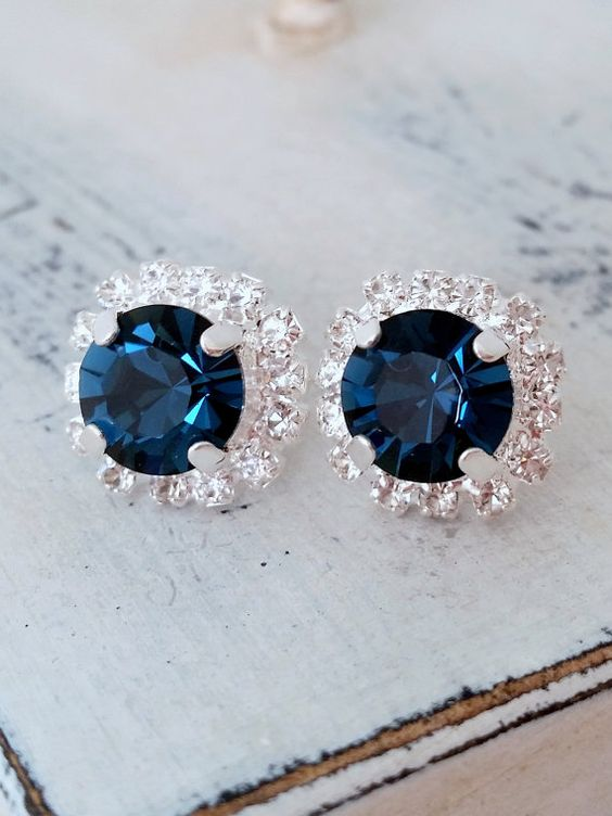 navy blue earrings with Swarovski crystals