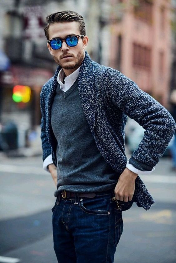 jeans, a grey sweater over the shirt, a cardigan for a comfy layered look