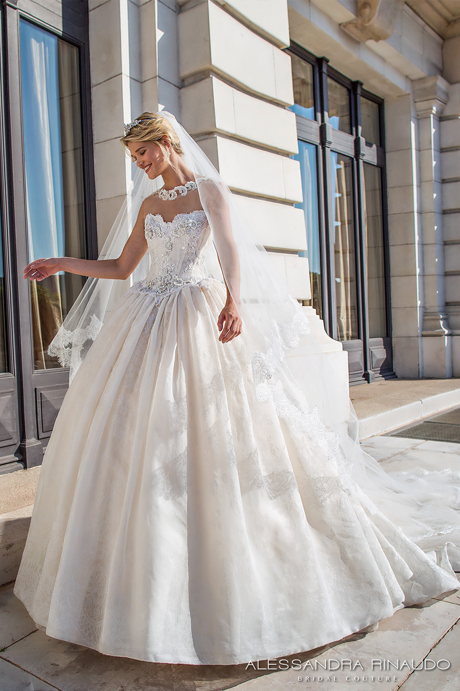 alessandra rinaudo 2017 bridal strapless sweetheart neckline bustier heavily embellished bodice princess ball gown wedding dress racer back royal long train (bellamy) mv