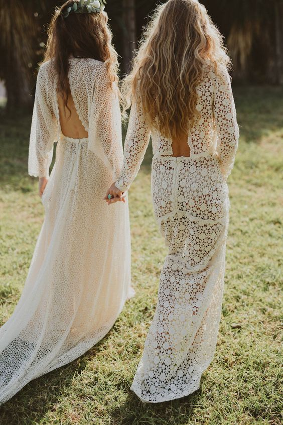 boho chic bridal dresses with statement backs in the same style for both brides