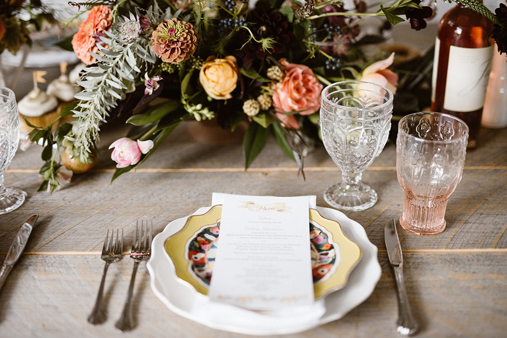 place setting - photo by Lindsay Hackney Photography http://ruffledblog.com/the-ultimate-garden-lover-bridal-inspiration