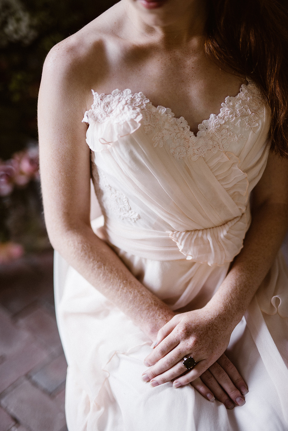 wedding gown details - photo by Lindsay Hackney Photography http://ruffledblog.com/the-ultimate-garden-lover-bridal-inspiration