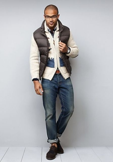 With jeans, cardigan and suede shoes