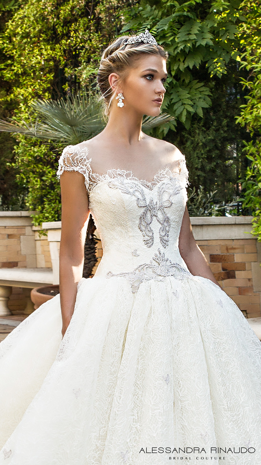 alessandra rinaudo 2017 bridal cap sleeves sweetheart neckline heavily embellished bodice princess ball gown wedding dress lace back chapel train (biancamaria) zv
