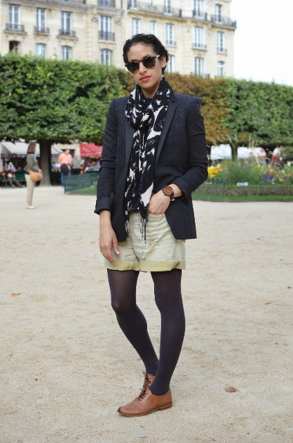 With jacket, printed scarf, shorts and dark color tights
