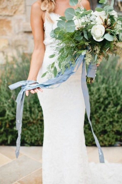 pale blue bouquet wrap and ribbons